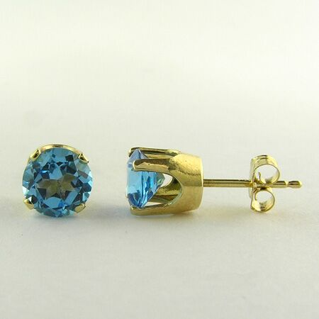 1.40cts Round Blue Topaz, 14K Yellow Gold Earring