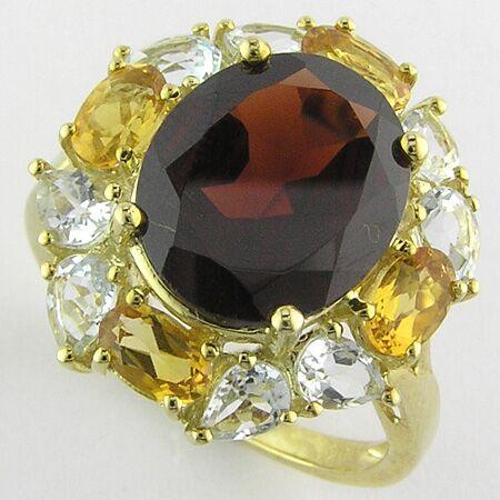 Details about  /1.50 Cts Genuine Oval Citrine /& Trillion Garnet Cocktail Ring 10K White Gold